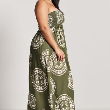 Plus Size Strapless Medallion Maxi Dress