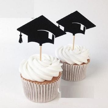cake toppers graduation hat paper cards banner for Cupcake Wrapper Baking Cup birthday tea party wedding decor baby shower