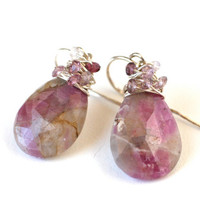 Earrings Pink and Grey Ruby Zoisite with Spinel and Sterling Silver - Fashion Accessories