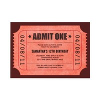 Red Admit One Ticket Invitations from Zazzle.com