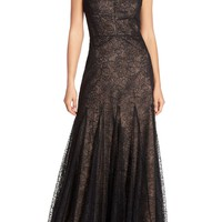 Vera Wang Metallic Lace Fit & Flare Gown | Nordstrom
