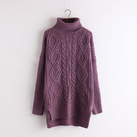 Cable High Neck Loose Solid Pullover Long Sweater