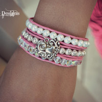 Valentines Day Pink and Heart Wrap Bracelet