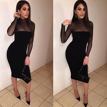 Sexy Club Dresses 2018 Autumn Winter Robe Sexy Women Long Sleeve Slim Black White Dress Bodycon Perspective Pencil Dress Vestido