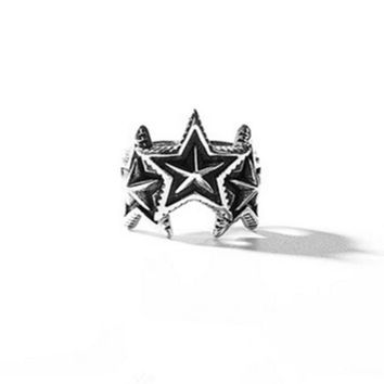 VLXZGW7 Cody Sanderson' Fashion Retro Punk Five-pointed Stars Unisex Ring Couple Little Finger Ring Open Ring