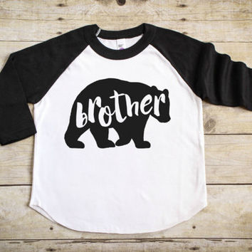 Brother Bear Shirt - Big Brother Shirt - Pregnancy Announcement Shirt - Big Brother Announcement Shirt - Sibling Shirt  - Raglan T-Shirt