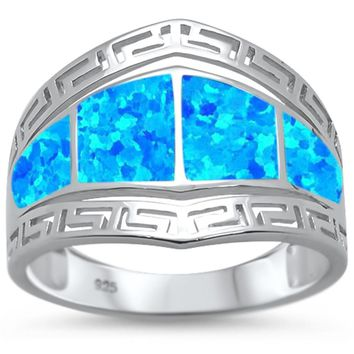 Blue Opal Greek Key Design .925 Sterling Silver Ring