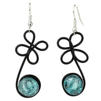 """Enameled Wire and Aqua Glass Bead """"Sprout"""" Earrings - Chilean"""