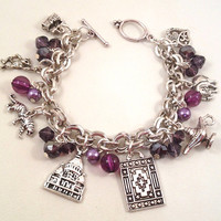 Disney Aladdin Inspired Purple Beaded Charm Bracelet