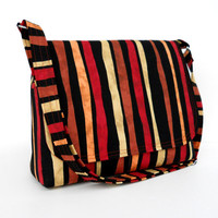 Medium Messenger Purse Cotton Shoulder Bag - Tribal Stripe in Earth Tones