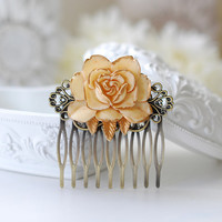 Wedding Bridal Ivory Rose Filigree Hair Comb, Vintage Style Ivory Wedding Hair Accessory, Shabby Chic, French Country, Bridesmaid Gift