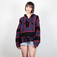 Vintage 90s Baja Poncho Black Purple Red Striped Surfer Skater Drug Rug 1990s Grunge Baja Jacket Textured Hippie Baja Hoodie Coat L XL Large