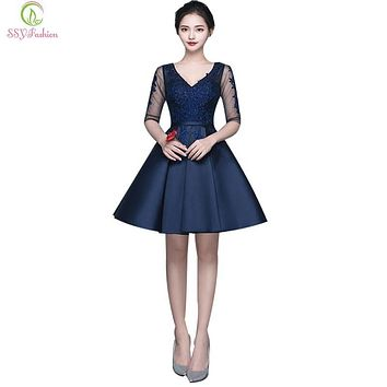SSYFashion Sexy Slim V-neck Lace Satin Half Sleeves Short Cocktail Dress Bride Banquet Elegant Party Gown Formal Dresses Custom