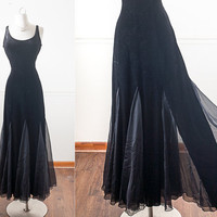 1990s Black Velvet Maxi Dress / Soft Goth Prom Dress / 90s Grunge Dress / Sheer Black Dress / Black Maxi Dress / Long Black Evening Dress