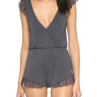 Charcoal Lace Romper