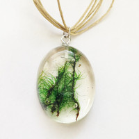Woodland Necklace Moss Preserved in Resin Necklace Tan Waxed Linen Cord Hippie Boho Natural