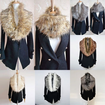 Womens Faux Fur Collars Shrugs Scraf Wrap Snood Cape Neck Warmer Shawl = 1931718084