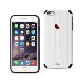 REIKO IPHONE 6 PLUS/ 6S PLUS RUGGED METAL TEXTURE HYBRID CASE WITH RIDGED BACK IN BLACK WHITE