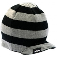 Born To Love Baby Boy's Stripe Beanie With Tag Baby Hat-Gray And Black-S( 1-2Years)