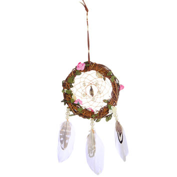 Handmade Dreamcatcher with Large Feather Bead Dream Catcher Net Wall Hanging Decoration Ornament Home Car Decor Craft