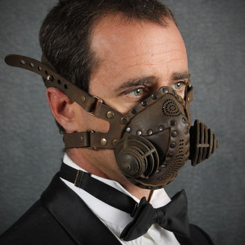 "Steampunk Gas Mask Respirator in black iron colors ""Excursionist"""