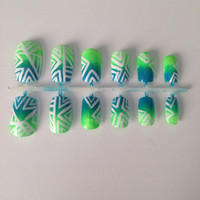 Tribal Neon Green and Blue Artificial Fake Nails  by GotNailz