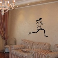 Housewares Wall Vinyl Decal Woman Runner Sport People Gym Interior Home Art Decor Kids Nursery Removable Stylish Sticker Mural Unique Design for Any Room