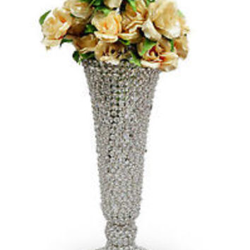 Crystal Beaded Flower Vase Wedding Centerpieces Flower Pots Home Decor 24 CM