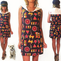 Vintage 1960's Sailor Mini Mod Scooter Dress || Nautical Theme || Embroidered || Size Medium