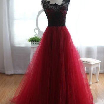 Black Lace Prom Dresses,A-Line Red Prom Dress,Evening Dresses