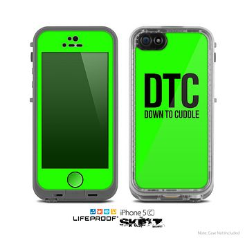The Lime Green & Black Down to Cuddle Skin for the Apple iPhone 5c LifeProof Case