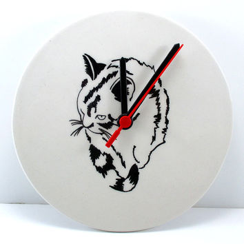 Ceramic wall clock, pottery wall clock, clay wall clock, kitchen clock, wall clock, unique wall clock, decorative clock, cat wall clock, cat