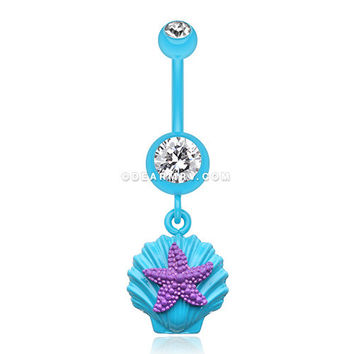 Ariel's Starfish Shell Belly Button Ring (Teal/Clear/Purple)
