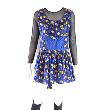 90s Astrology SUN MOON Stars Zodiac Pinafore Overall jumper Grunge Dress