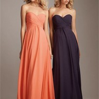 A-line Sweetheart Strapless Drape Chiffon Orange Floor-length Bridesmaid Dress BD0354
