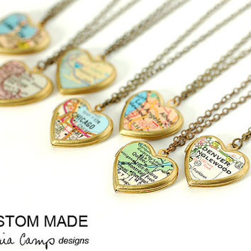 Custom Map Necklace, Small Heart Locket, Brass Chain, Personalized Map Jewelry, Bridesmaid Gift, Wedding, Gift Under 40