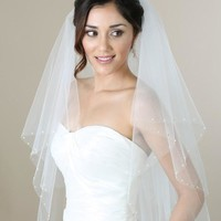 Bel Aire 2-Tier Fingertip Veil with Pearls and Rhinestones V7271 Wedding Veil