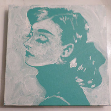 Painting of Audrey Hepburn - Small Painting - Tiffany Blue Painting Home Decor - Original Unique Painting - Hand Painted Acrylic on Canvas