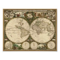 Antique 1660 World Map by Frederick de Wit Print from Zazzle.com
