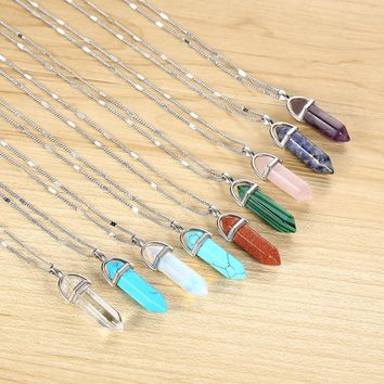 KISS WIFE Hot sale Hexagonal Column Quartz Necklaces Pendants Vintage Natural Stone Bullet Crystal Necklace For Women Jewelry