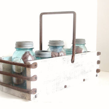 Caddy Tray Industrial Farm Cottage Rustic White by baconsquarefarm