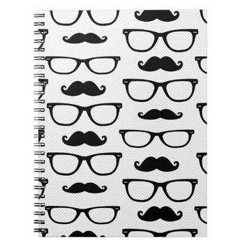 Hipster Mustache and Glasses Dot Pattern White Notebooks