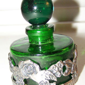 "Vintage Sixtrees Glass Perfume Decanter, Dark Green Glass, Pewter Floral Ring surrounding bottle, 2.5"" x 2"", London New York, RARE Decanter"