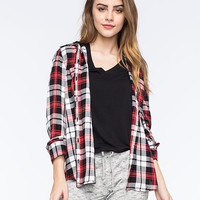 Hurley Wilson Womens Hooded Plaid Shirt Red Combo  In Sizes