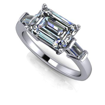 Emerald Cut Three Stone East West Engagement Ring - SUPERNOVA Colorless Moissanite Ring