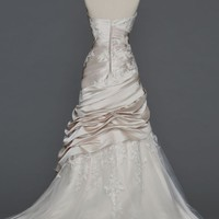 Satin Ball Gown with Appliques and Tulle Underlay - David's Bridal - mobile