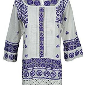 Mogul Womens Tunic White Purple Floral Embroidered Lace Work Cotton Blouse Dress