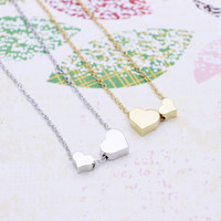 Double Hearts  necklace in  silver or gold tone