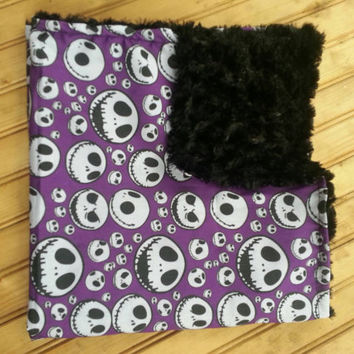 Nightmare before Christmas, blanket, jack skellington, bone, dead, sally, Halloween, Tim Burton, bedding, geekery, bib, burp cloth, baby