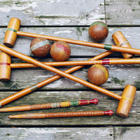 Wooden Croquet Set with Stand, Croquet Balls, Mallets, Wire Wickets, Antique Games, Rustic Lodge Decor, Turned Wood Treen